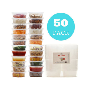 Reusable Food Storage Containers - Deli Cups / Leakproof / Portion Control / Slime, Kids Lunch Boxes & General Storage / Freezer, Microwave & Dishwasher Safe - (8 oz, 50 pcs)