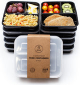 Healthy Packers 3 Compartment Reusable Food Storage Container with Lid - 10 Pack