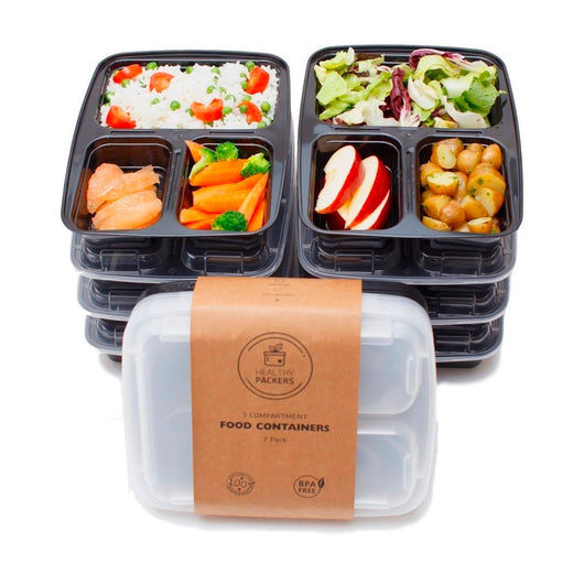 3 Compartment Reusable Food Prep Containers with Lids Bento Lunch
