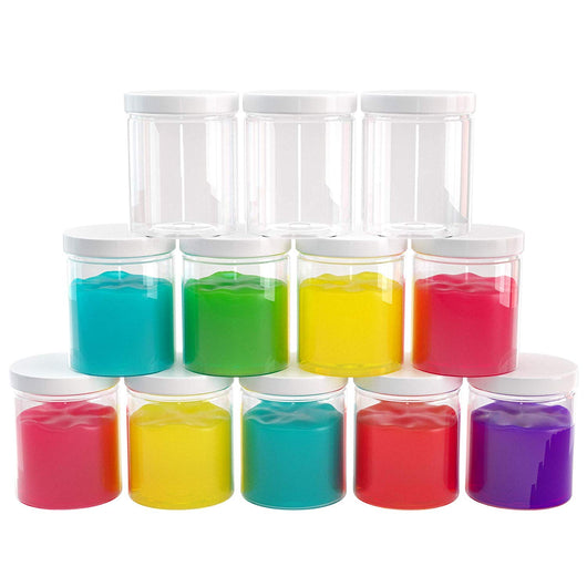 Slime Containers with Water-tight Lids (6 oz, 12 Pack) - Clear Plastic Food Storage Jars - Great for your slime kit - BPA Free (White or Black lid)