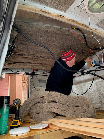 Ford Transit Van Conversion - Ceiling and Wall Cedar installation