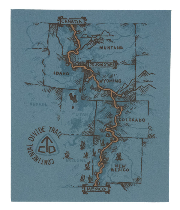 Continental Divide Trail - CDT - Trail Map - Sticker