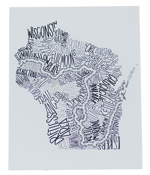 "Ice Age Trail ""Word Art"" Print only"