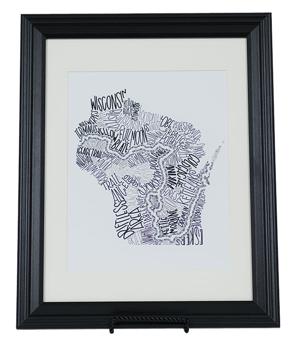 "Ice Age Trail ""Word Art"" Print with frame for example"