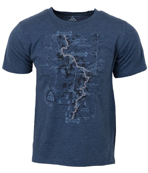 "Mens Continental Divide Trail ""Trail Map"" t-shirt blue CDT"