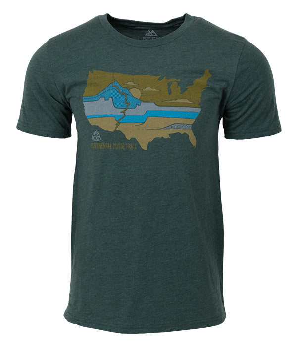 "Mens Continental Divide Trail ""United Landscapes"" t-shirt green CDT"