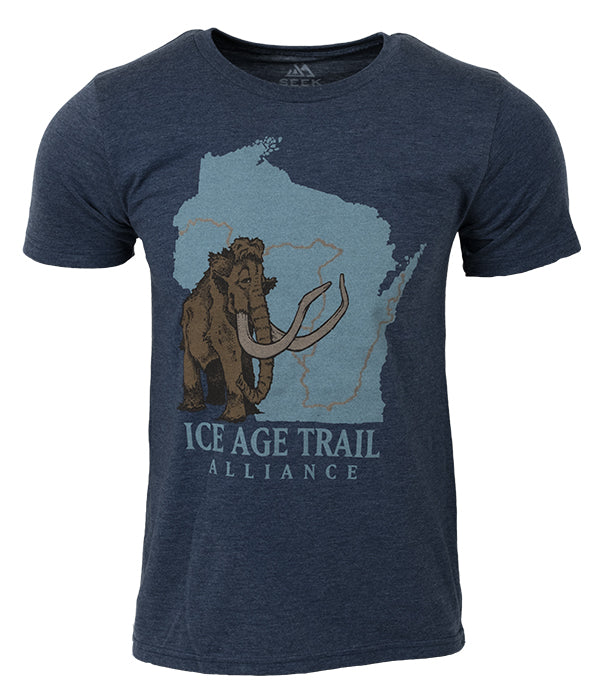 "Mens Ice Age Trail outdoor artist series organic ""core logo"" t-shirt navy"