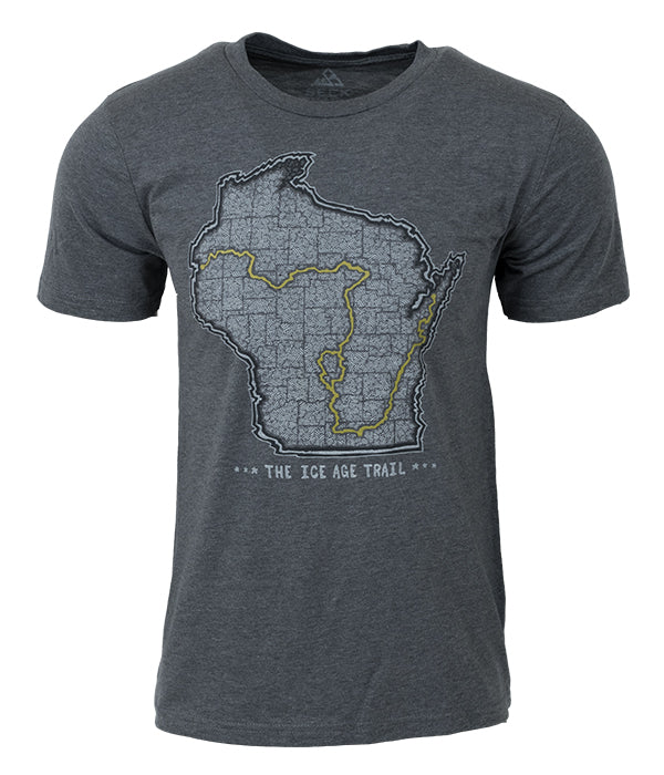 "Mens Ice Age Trail outdoor artist series organic ""trail map"" t-shirt grey"