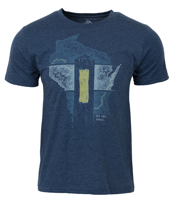 "Mens Ice Age Trail outdoor artist series organic ""Yellow Blaze"" t-shirt blue"