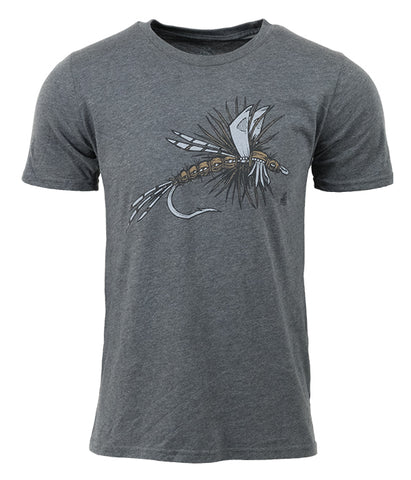 "Mens Seek Dry Goods outdoor artist series ""dry fly"" t-shirt grey"