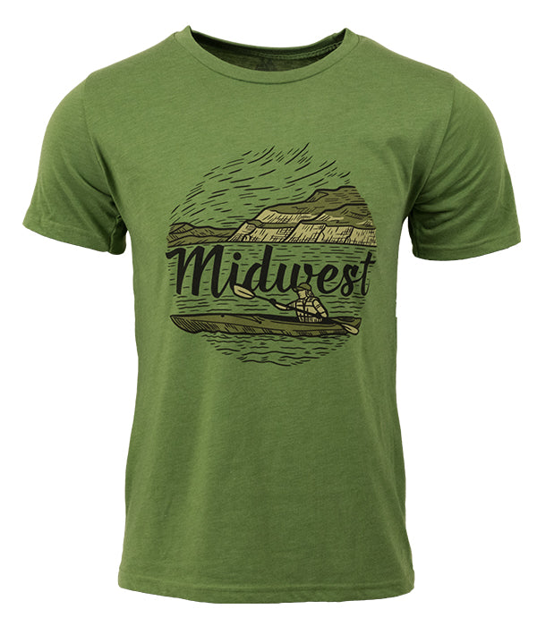 "Mens Seek Dry Goods outdoor artist series ""midwest"" t-shirt green"