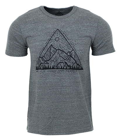 "Mens Seek Dry Goods outdoor artist series ""mountain view"" organic cotton tri blend t-shirt grey"