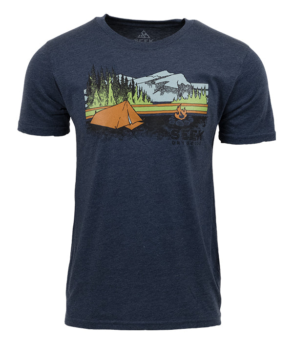 "Mens Seek Dry Goods outdoor artist series organic ""fireside camp"" t-shirt navy"