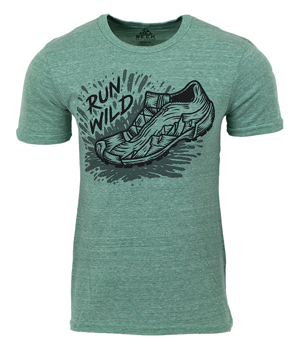 "Mens Seek Dry Goods outdoor artist series ""run wild"" tri blend t-shirt green"