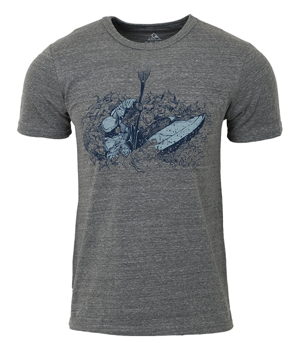 Unisex organic cotton and recycled polyester made in the USA Kayak graphic t shirt