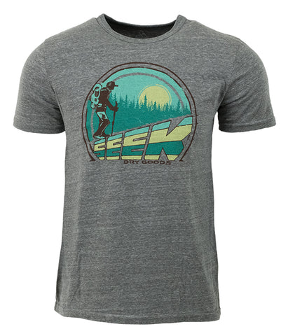 "Mens Seek Dry Goods outdoor artist series ""Trail Breaker"" tri blend t-shirt grey"