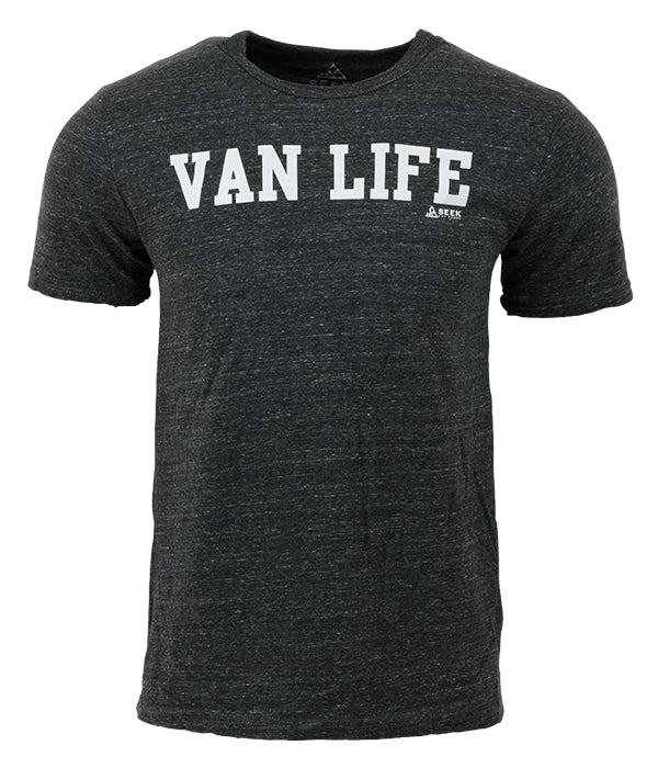 "Mens Seek Dry Goods outdoor artist series ""van life"" tri blend t-shirt charcoal"