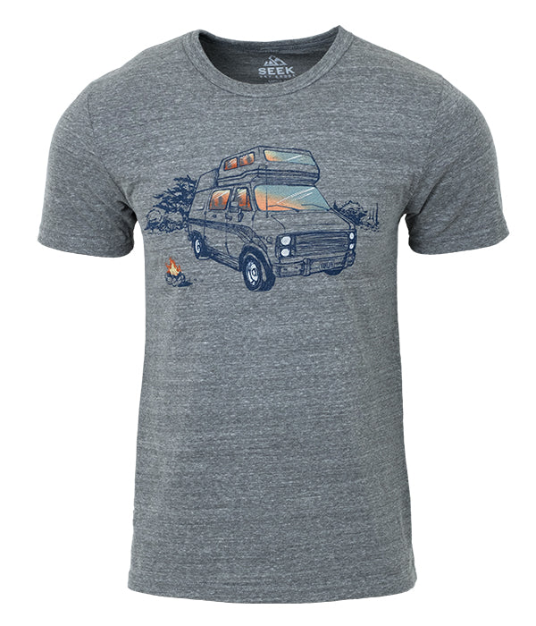 "Mens Seek Dry Goods outdoor artist series ""van life"" tri blend t-shirt grey"