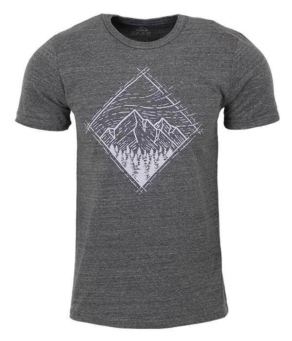 "Mens Seek Dry Goods outdoor artist series ""windy sky"" tri blend t-shirt grey"