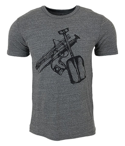 "Mens Seek Dry Goods outdoor artist series ""safety check"" t-shirt grey"