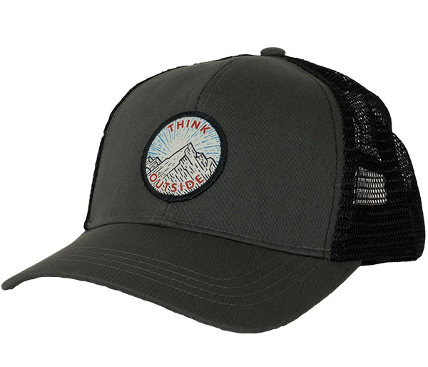 "Seek Dry Goods Eco Trucker Hat ""Think Outside"" Patch Charcoal"