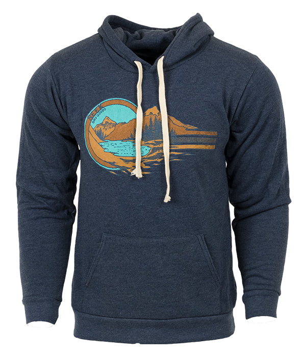 "Unisex Seek Dry Goods outdoor artist series ""Alpine Lake"" hoodie sweatshirt navy"