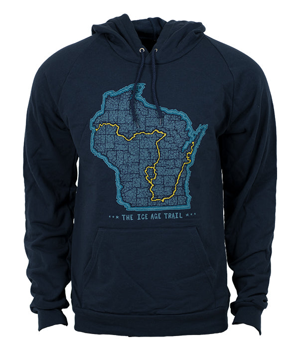 "Unisex Ice Age Trail outdoor artist series organic ""trail map"" hoodie navy"