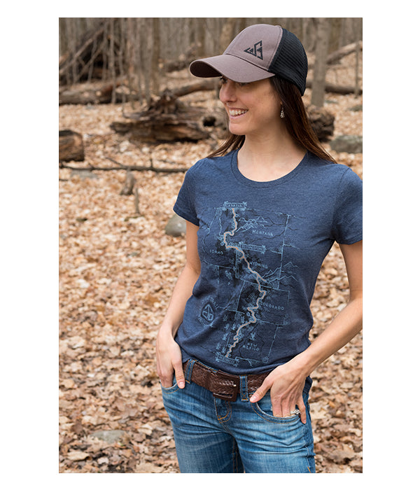 "Womens Continental Divide Trail ""Trail Map"" t-shirt blue CDT lifestyle"