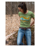 "Womens Continental Divide Trail ""United Landscapes"" t-shirt green CDT lifestyle"
