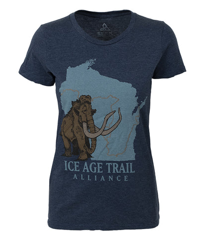 "Womens Ice Age Trail outdoor artist series organic ""core logo"" t-shirt navy"