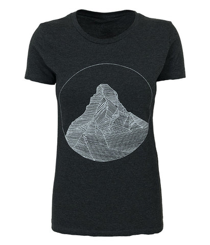 "Womens Seek Dry Goods outdoor artist series ""matterhorn"" t-shirt charcoal"