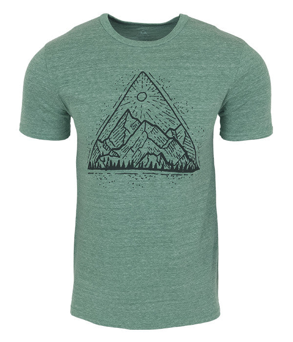 "Mens Seek Dry Goods outdoor artist series ""mountain view"" tri blend organic cotton t-shirt green"