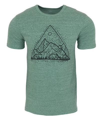 "Mens Seek Dry Goods outdoor artist series ""mountain view"" tri blend t-shirt green"