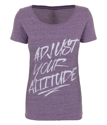 "Womens Seek Dry Goods outdoor artist series ""adjust your altitude"" tri blend t-shirt purple"
