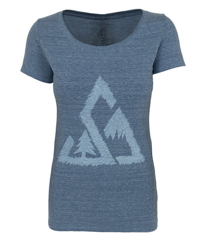 "Womens Seek Dry Goods outdoor artist series ""chalked up"" tri blend t-shirt blue"