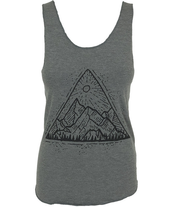 "Womens Seek Dry Goods outdoor artist series ""mountain view"" tank top grey"