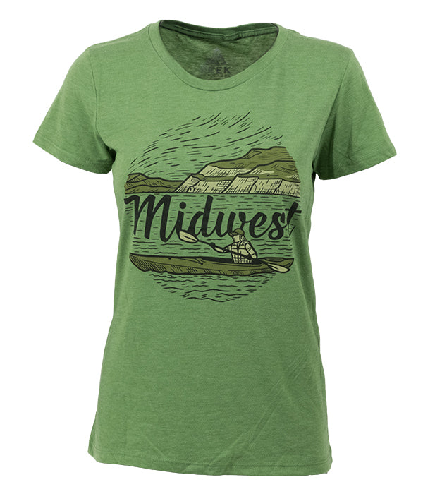 "Womens Seek Dry Goods outdoor artist series ""midwest"" t-shirt green"