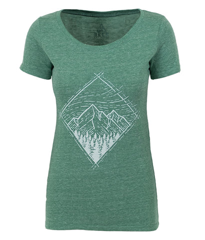 "Womens Seek Dry Goods outdoor artist series organic ""windy sky"" t-shirt green"