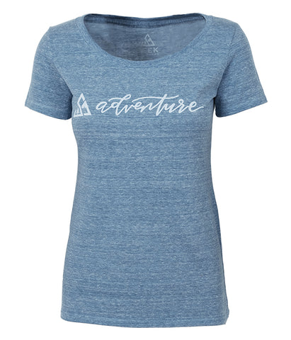 "Womens Seek Dry Goods outdoor artist series ""seek adventure"" t-shirt blue"
