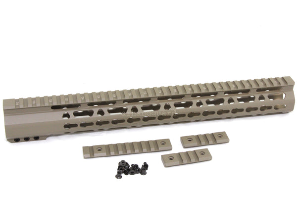 "FDE- 15"" ULTRA-LIGHT Super Slim Keymod Handguard Free Float CLAMP ON style AR15 223 5.56 - Flat Dark Earth color - AR15 handguard, Ar15 Free float handguard, Ar10 keymod handguard, Ar10 handguard, Ar15 keymod handguard, Ar15 slim handguard, Ar15 quad rail handguard, Ar15 gas block, Ar15 buffer tube, Ar15 muzzle brake, Ar15 gas tube, Ar 15 handguard, affordable ar 15 free float handguard, AR 15 handguard USA, ar 15 handguard, ar 15 hand guard"