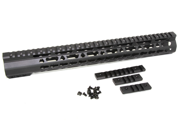 "15"" ULTRA-LIGHT Super Slim Keymod Handguard Free Float CLAMP ON style AR15 223 5.56 - AR15 handguard, Ar15 Free float handguard, Ar10 keymod handguard, Ar10 handguard, Ar15 keymod handguard, Ar15 slim handguard, Ar15 quad rail handguard, Ar15 gas block, Ar15 buffer tube, Ar15 muzzle brake, Ar15 gas tube, Ar 15 handguard, affordable ar 15 free float handguard, AR 15 handguard USA, ar 15 handguard, ar 15 hand guard"