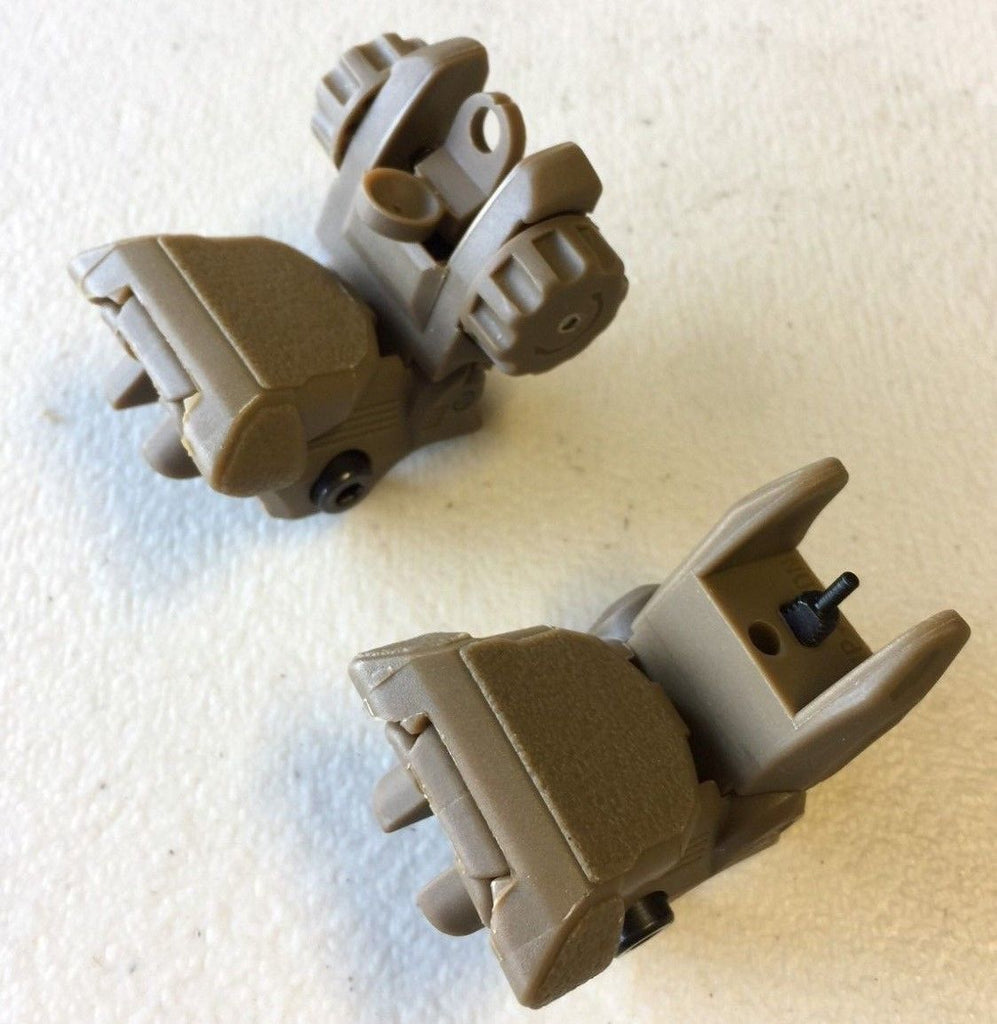 Polymer Front and Rear Flip Up Iron Sight (TAN color) AR15 223 5.56