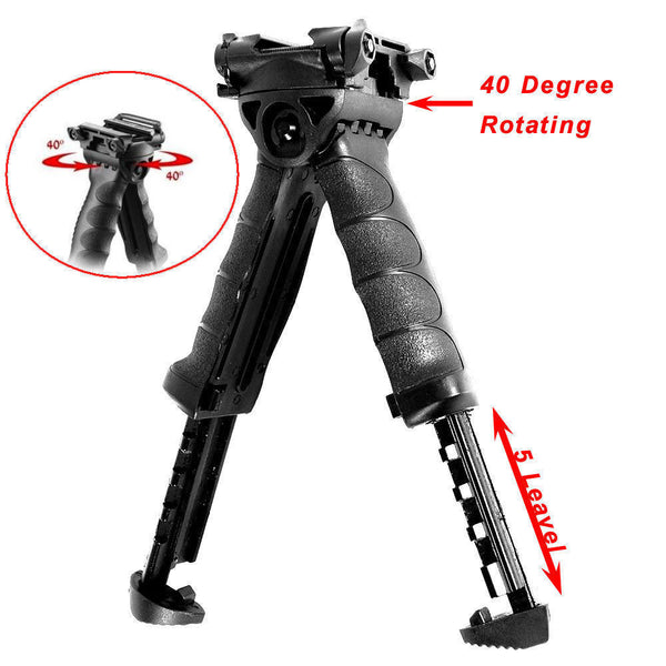 Ar15 Rotating Vertical Grip Bipod | Vertical Grip Bipod Rotating Foregrip Adjustable Legs w/ side rail - AR15 handguard, Ar15 Free float handguard, Ar10 keymod handguard, Ar10 handguard, Ar15 keymod handguard, Ar15 slim handguard, Ar15 quad rail handguard, Ar15 gas block, Ar15 buffer tube, Ar15 muzzle brake, Ar15 gas tube, Ar 15 handguard, affordable ar 15 free float handguard, AR 15 handguard USA, ar 15 handguard, ar 15 hand guard