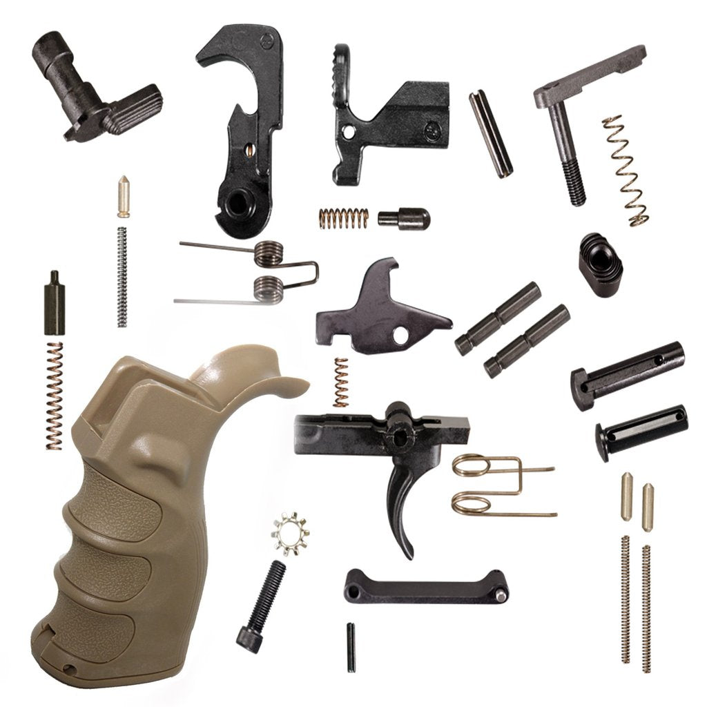 Complete LPK - Lower Parts Kit AR15 223/5.56 w/ TAN Grip