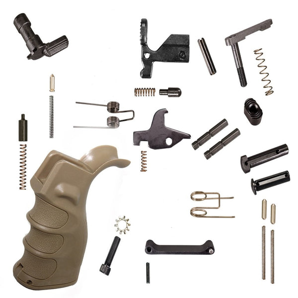 LPK - Lower Parts Kit AR15 223/5.56 w/ TAN Grip (no Trigger, No Hammer)