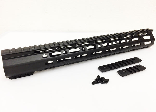 "15"" ULTRA-LIGHT Super Slim Mlok Handguard Free Float AR10 308 - Clamp on style"