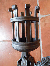 "Hand Forged Wrought Iron Torch Wall Mounted Handmade Candlestick 23"" - 60cm - Handcrafted Wood, Iron & Copper"