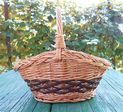 Hand Crafted Quality Woven Natural Wicker Basket w/ Loop Handle Decor Floral 10
