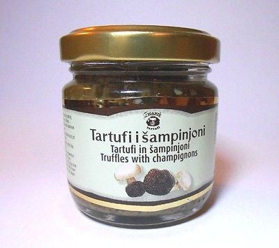 Gourmet Black Truffles with Champignons Minced in Extra Virgin Olive Oil 80grams - Handcrafted Wood, Iron & Copper