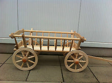Wooden Farm Wagon Goat Cart New Handmade 90cm 35 inch - Handcrafted Wood, Iron & Copper